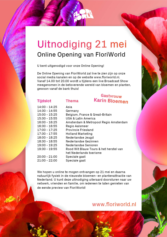 FloriWorld uitnodiging online opening 21 mei 2020